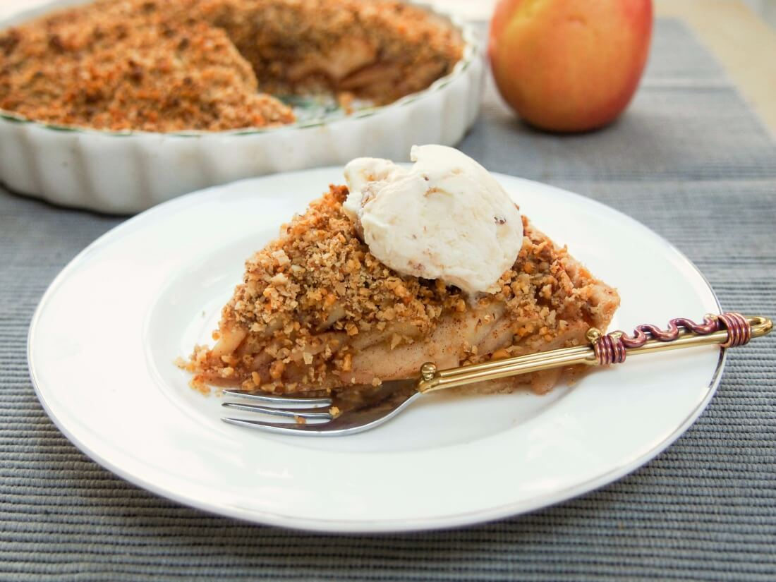 walnut crumble topped apple tart
