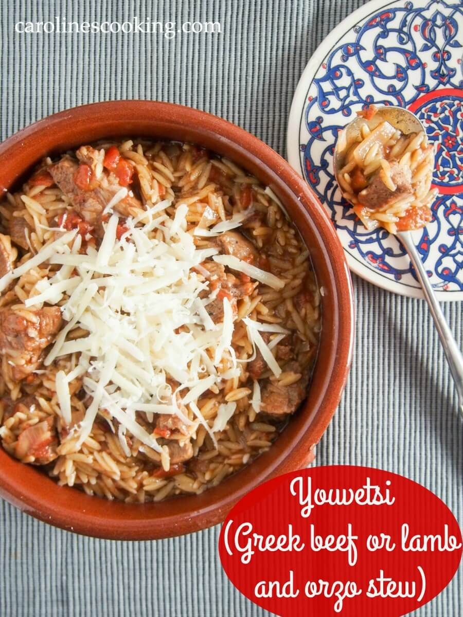Youvetsi is a delicious Greek stew made with beef or lamb and orzo cooked in a tasty tomato-based sauce. It's flavorful, comforting and easy to make too. Great comfort food.