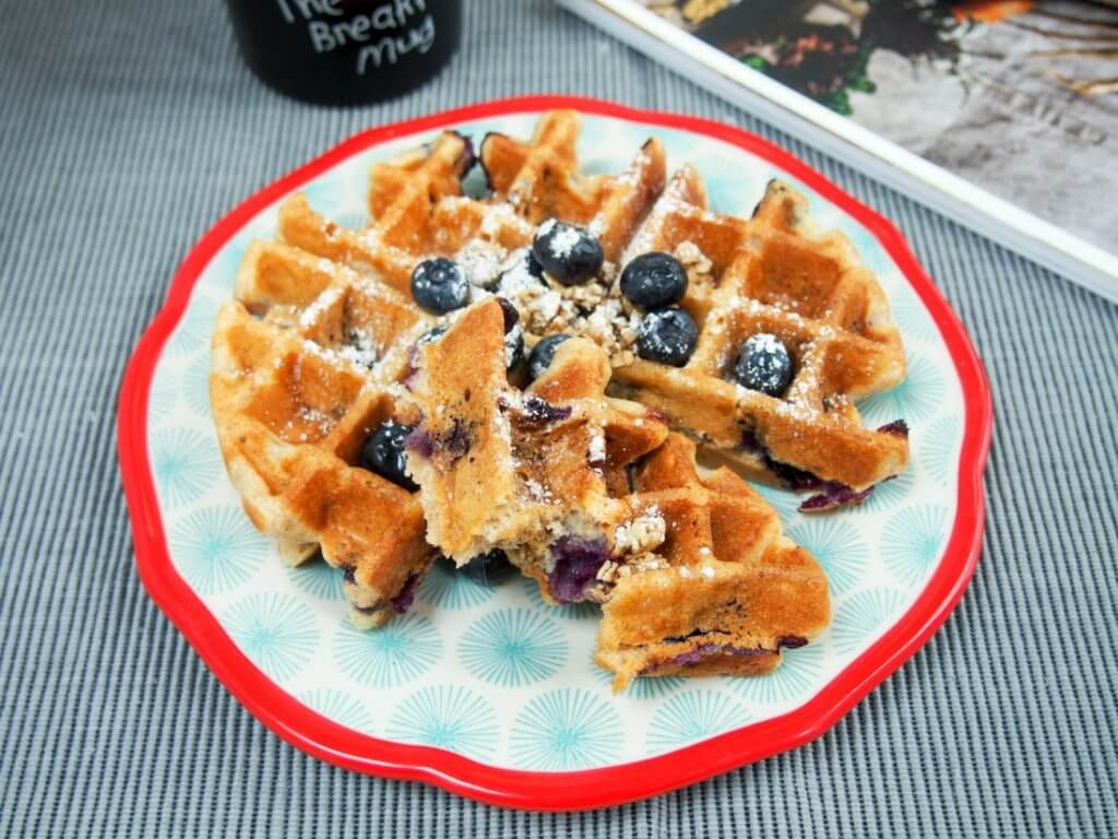 Blueberry granola waffles