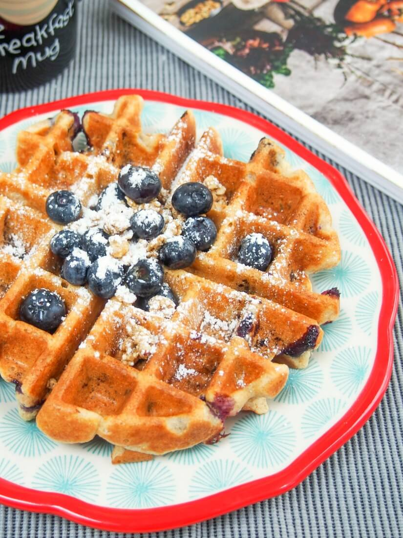 These blueberry granola waffles are a fantastic mix of flavors and textures- fruity, slightly chewy and with lots of wholegrains; a great start to any day. Breakfast recipe