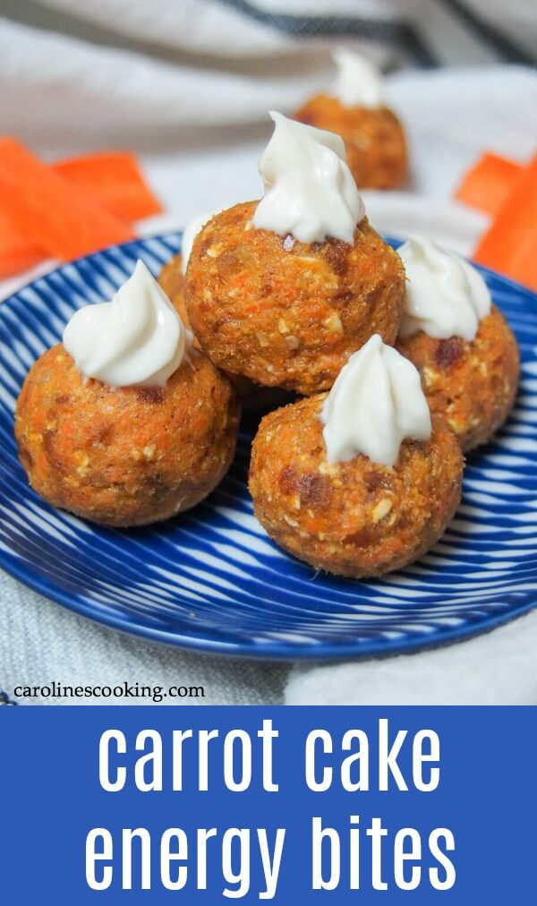 These carrot cake energy bites are incredibly quick and easy to make with the flavors of carrot cake in a healthy, bite-sized treat. Such a tasty treat! #energybite #nobakesnack #healthysnack #glutenfree #carrotcake