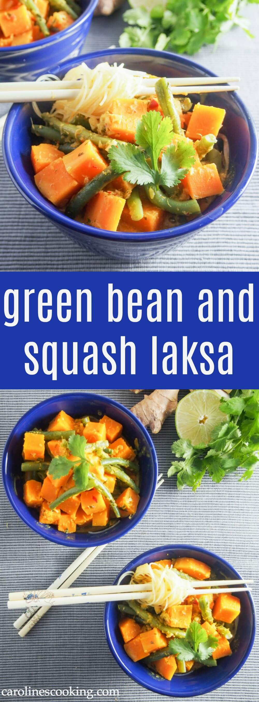This green bean and squash laksa is a delicious veggie take on the classic coconuty noodle dish - spice it up or down, it's full of flavor either way. Plus it's quick to make, even making the spice paste from scratch. Easily made vegan.