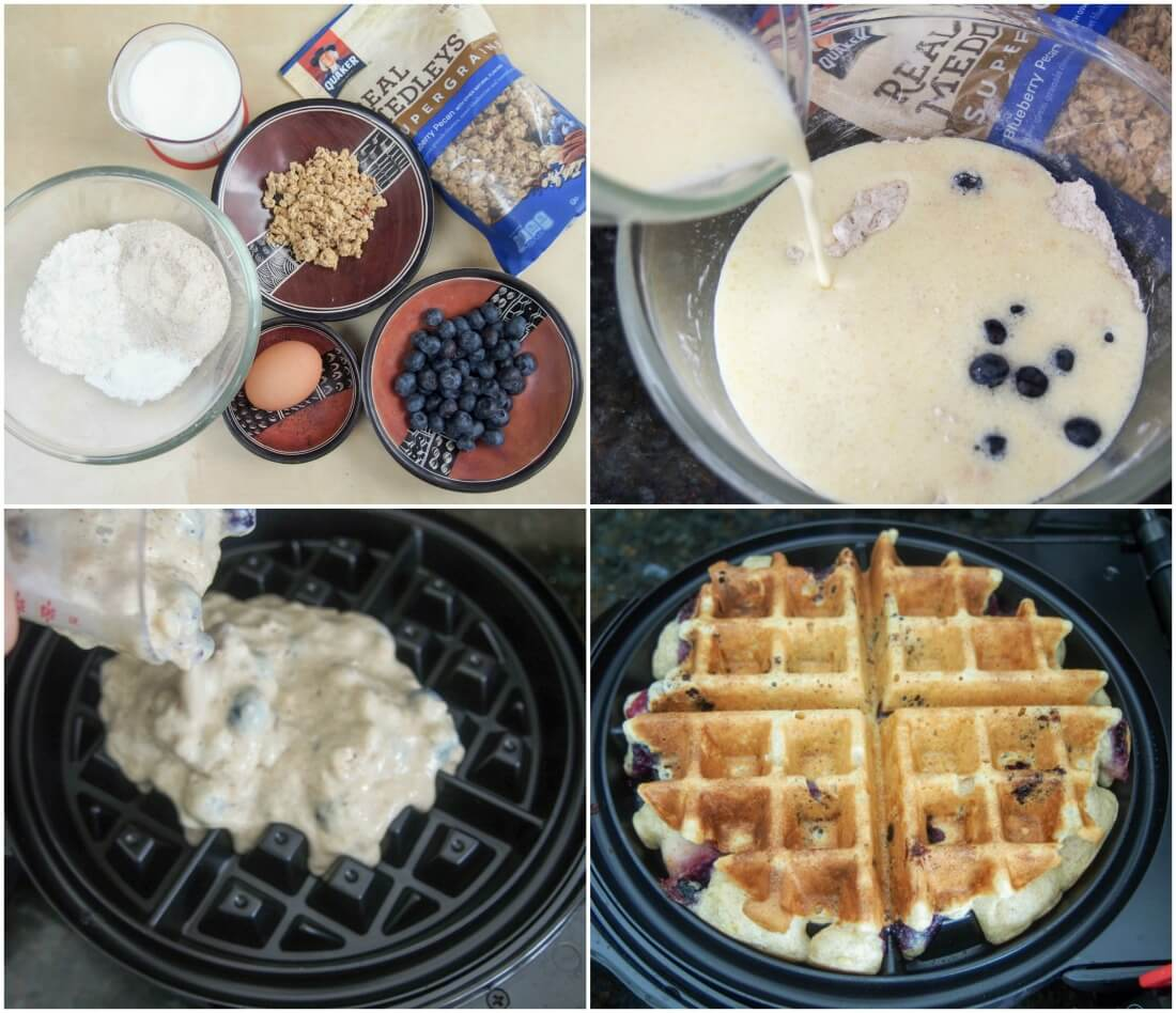 making blueberry granola waffles
