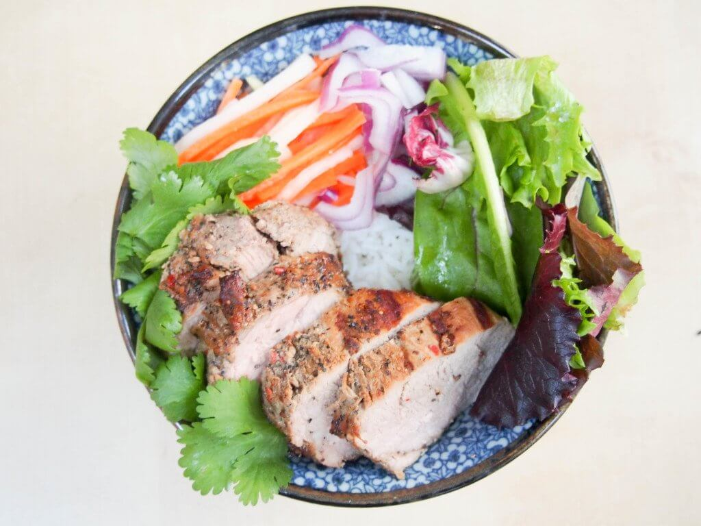 Vietnamese-style pork and rice bowl