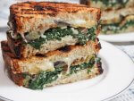 Eggplant spinach grilled cheese sandwich