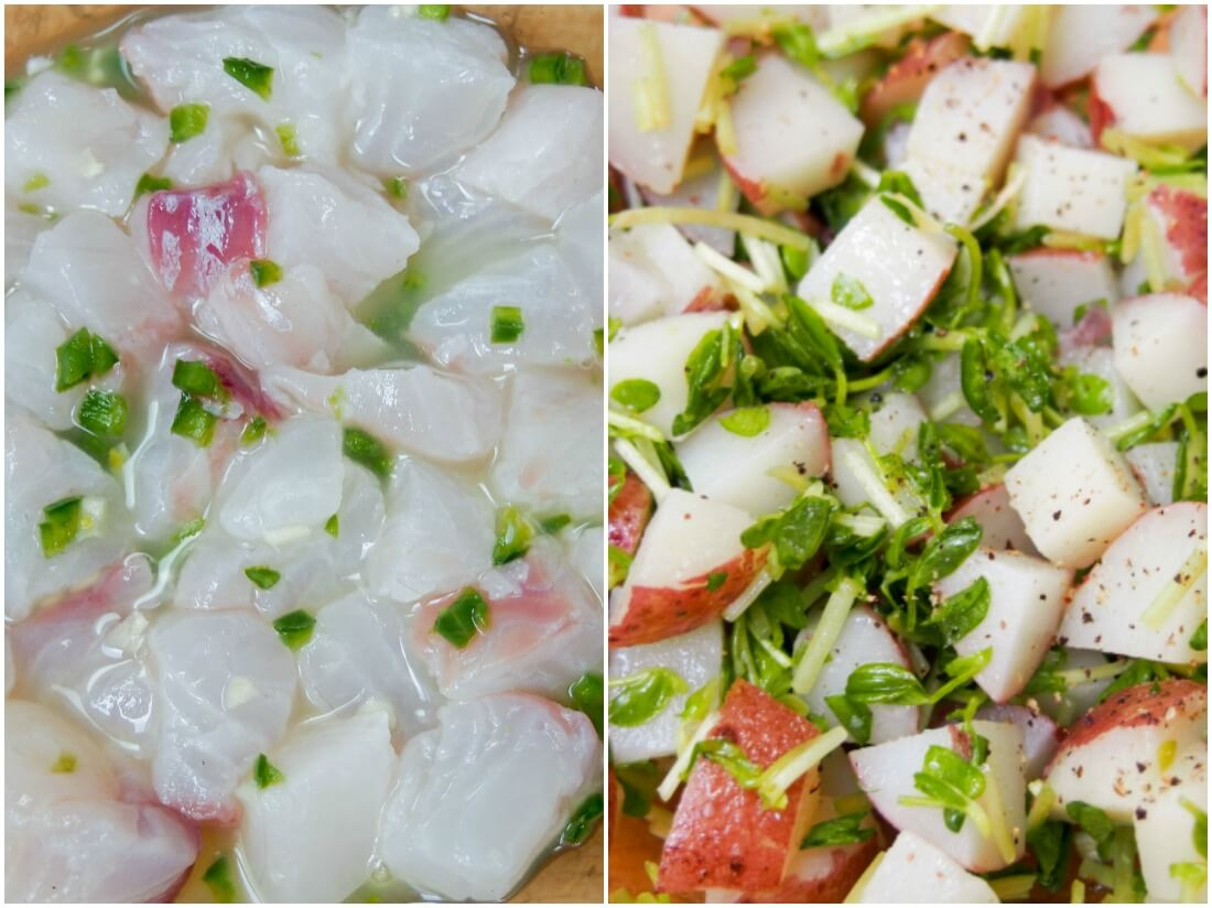 making Ceviche with potato and pea shoot salad