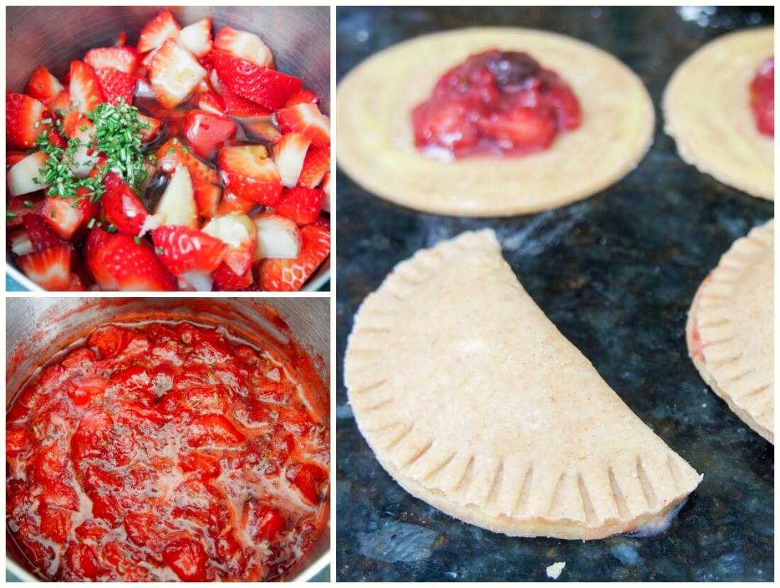 making rosemary infused strawberry empanadas