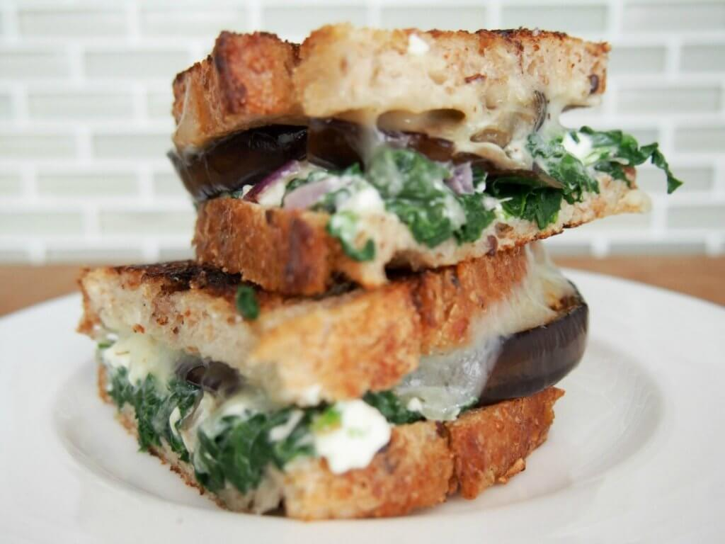 'The green Greek' grilled cheese sandwich