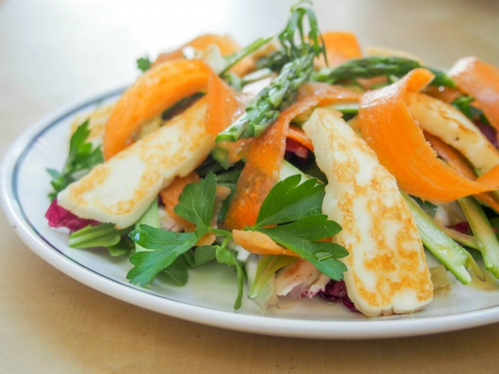 Halloumi, herb and shaved vegetable salad