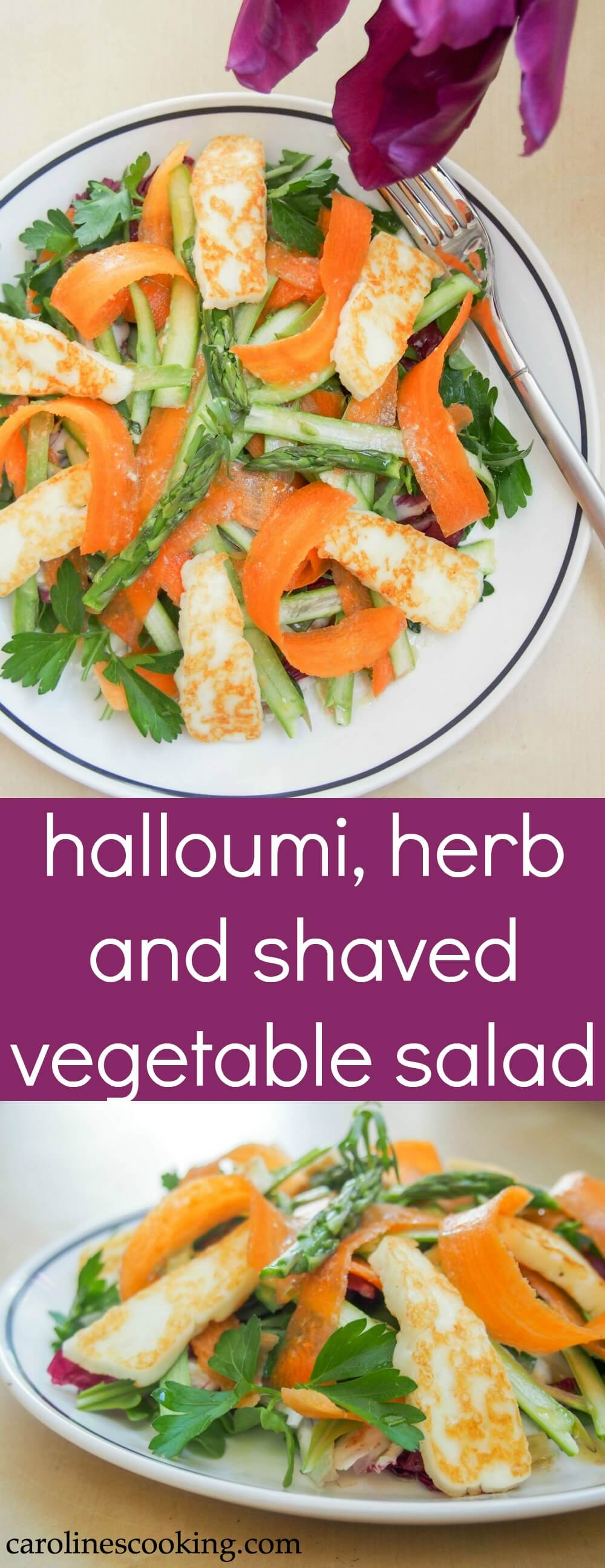 This halloumi, herb and shaved vegetable salad is quick and easy to make. Full of fresh flavors and crunch, it's healthy too. A great lunch/side. #salad #halloumi
