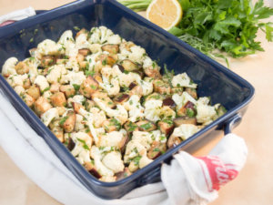 This roasted cauliflower and eggplant salad/side makes a versatile accompaniment to many meals. Great roasted veg flavor with a fresh herby, citrus dressing.