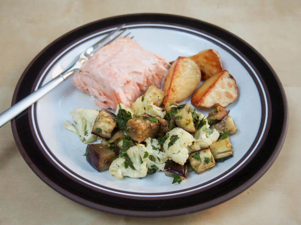 roasted cauliflower and eggplant salad served up