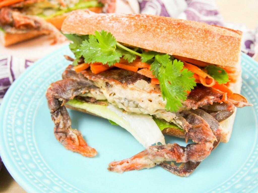 Banh mi-style soft shell crab sandwich