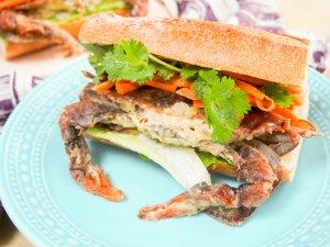 Bahn mi-style soft shell crab sandwich