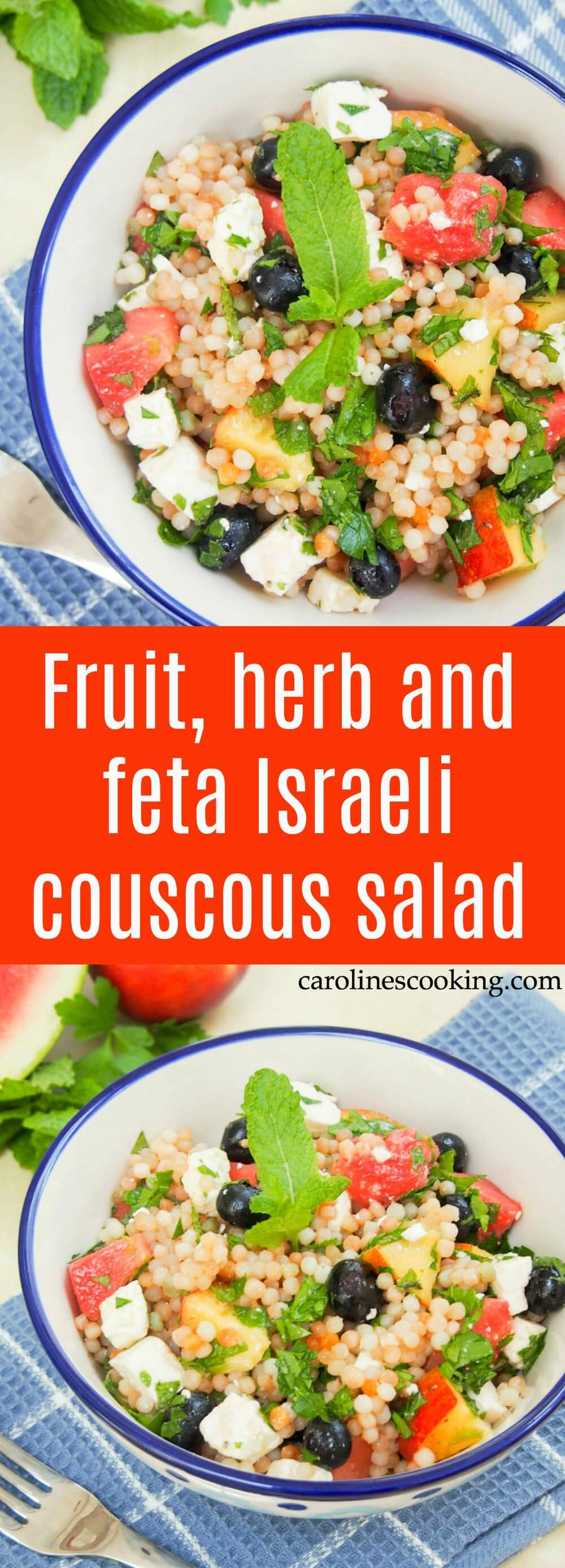 This fruit, herb and feta Israeli couscous salad is light and refreshing with fresh fruit and cooling herbs, but filling enough to be a great lunch or side. Perfect for summer