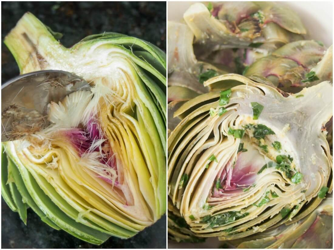 preparing grilled artichokes