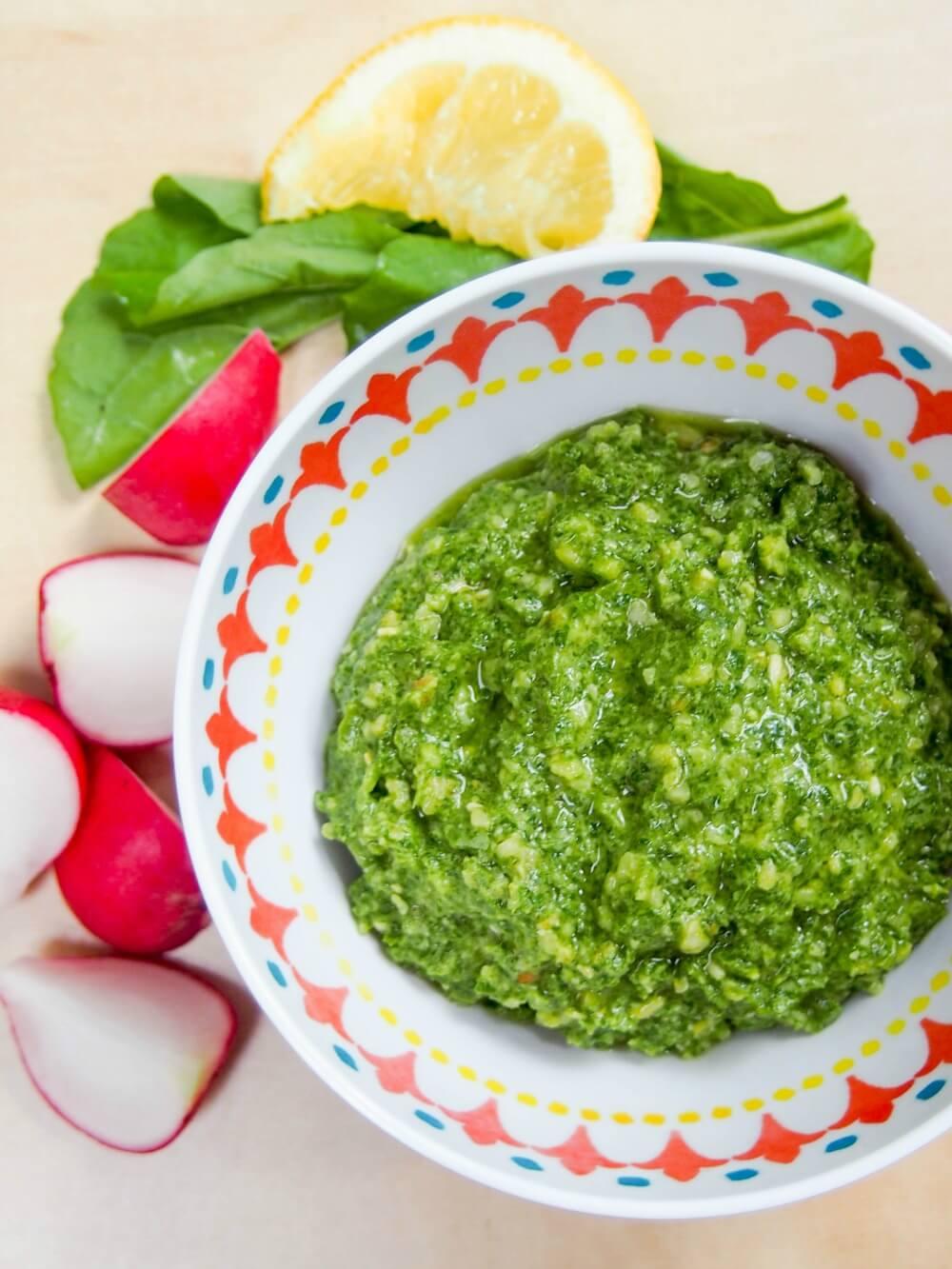 radish green pesto