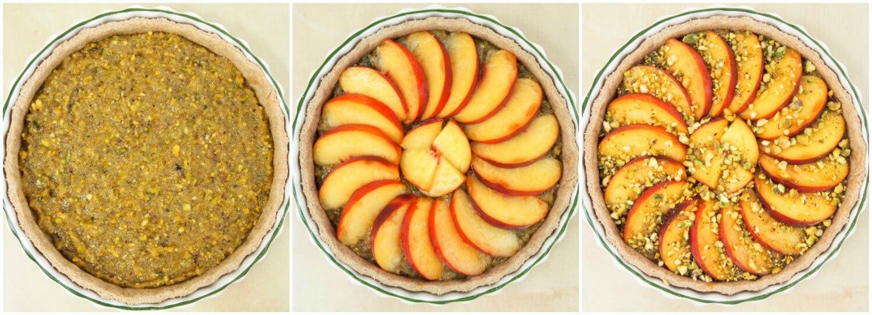 Peach and pistachio tart