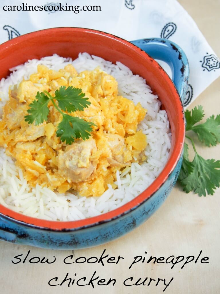 Slow cooker pineapple chicken curry - really easy to make, lots of flavor and you can adjust the heat to taste. A great easy midweek dinner