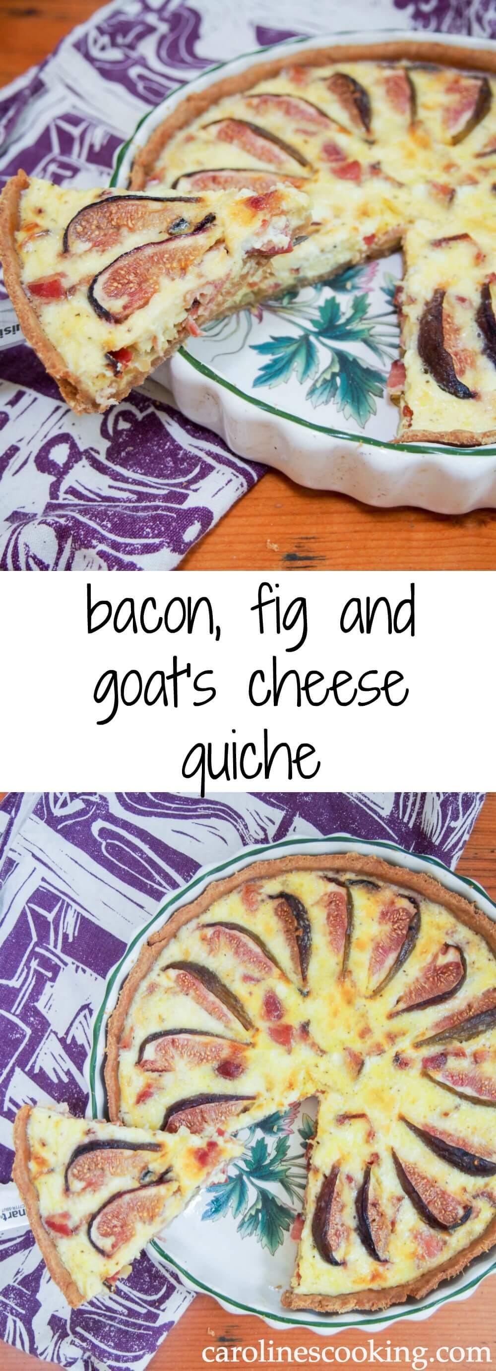 bacon, fig and goat's cheese quiche - a delicious combination of slightly salty bacon and sweet figs in a slightly tangy egg base with smooth goat's cheese mixed through.