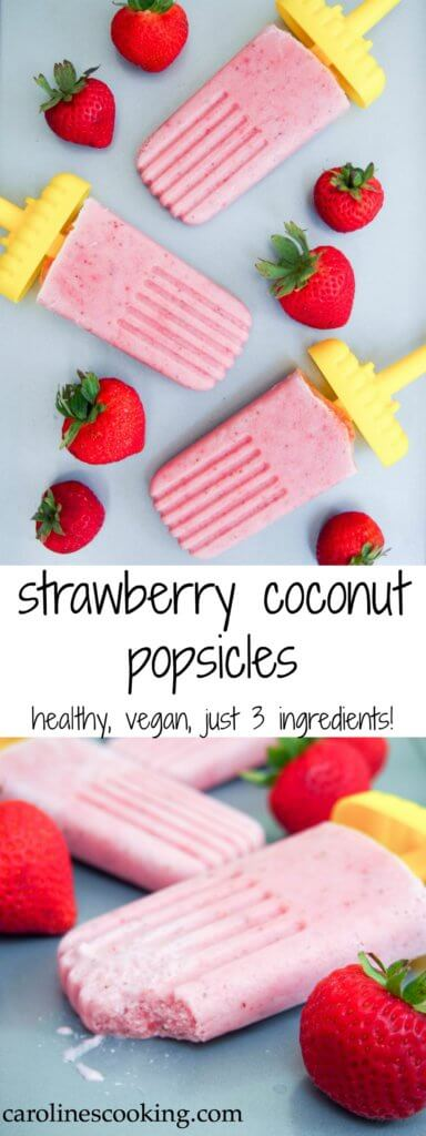 These strawberry coconut popsicles are incredibly easy - just 3 ingredients, whizzed up in the blender. Healthy and vegan, they're creamy smooth & delicious