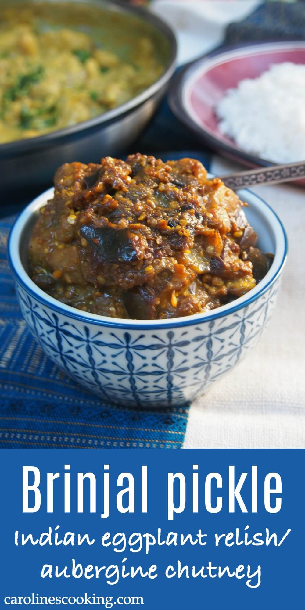 Brinjal pickle (eggplant relish/aubergine chutney) is a classic Indian condiment that is the perfect addition to any curry. Slightly sweet & spicy, it's also easy to make and a great way to use up an excess of eggplant. #eggplant #Indianfood #chutney