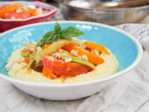fresh corn polenta with summer vegetables