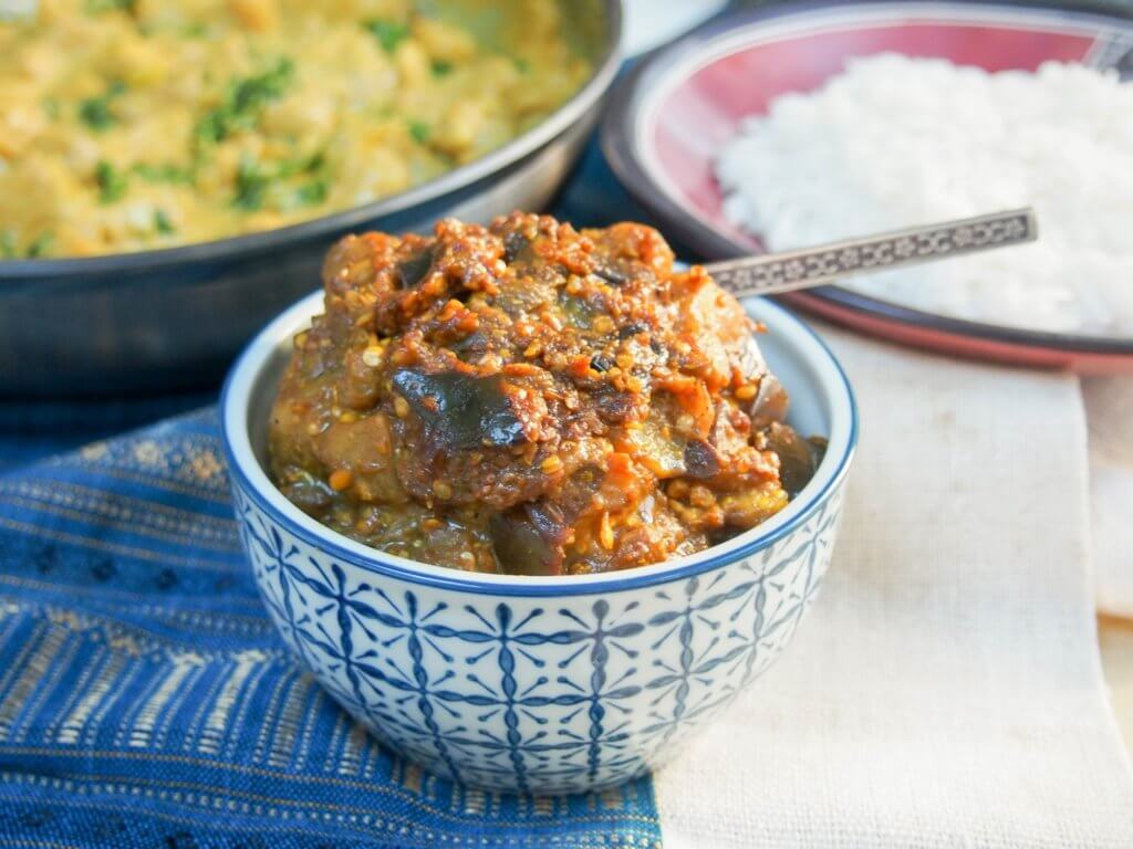 brinjal pickle (Indian eggplant relish/aubergine chutney)