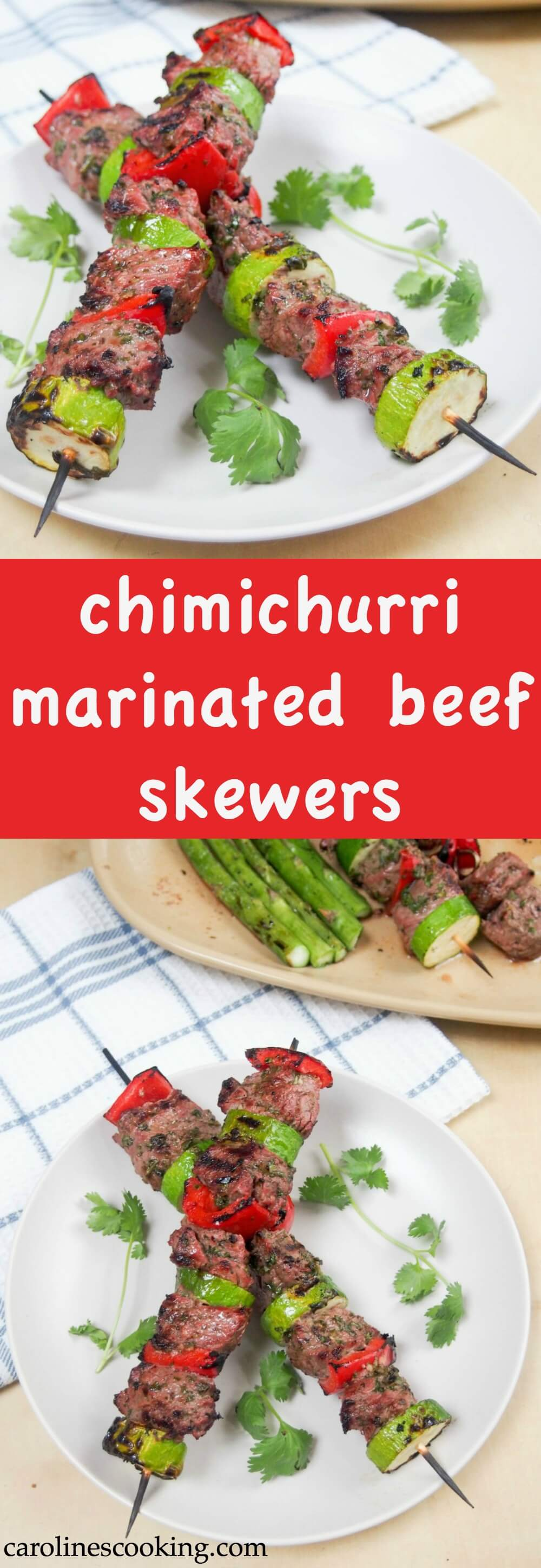 Chimichurri marinated beef skewers - easy to make, tender and packed with delicious herb, garlic and chili flavor. Perfect for an easy, flavorful meal.