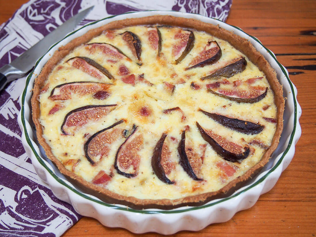 fig, goat's cheese and bacon quiche whole quiche