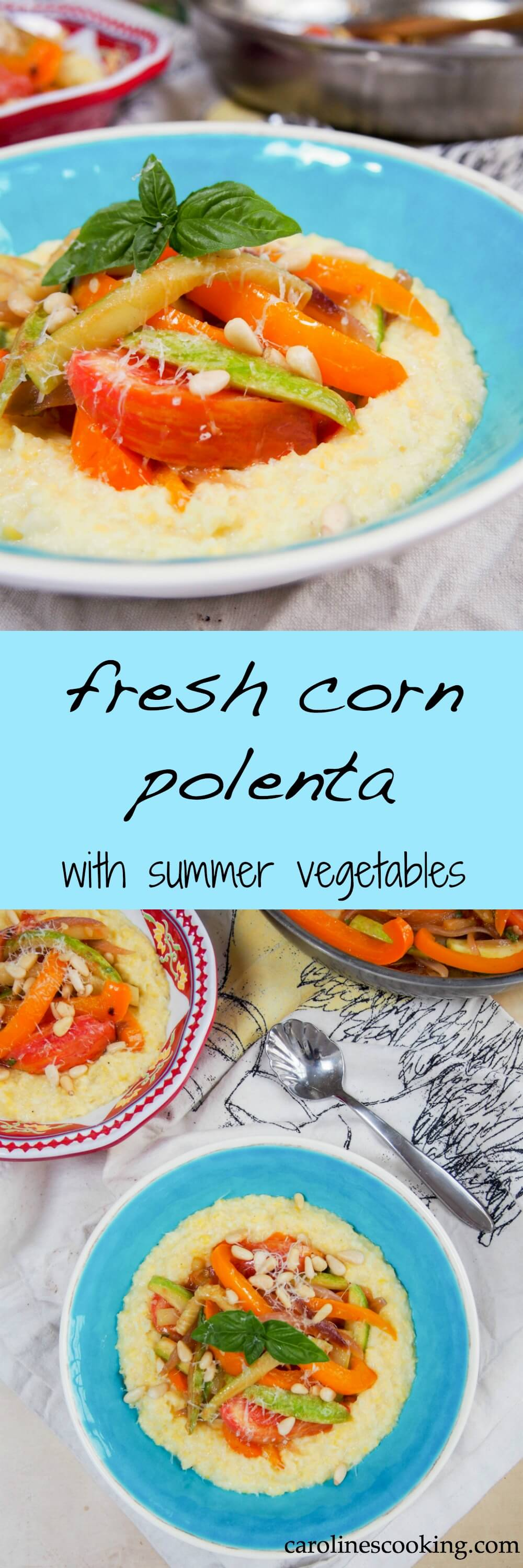 Fresh corn polenta with summer vegetables is a delicious way to enjoy the comfort-factor of polenta with the fresh flavor of summer corn. Such a tasty vegetarian meal. #vegetarian #summer #corn