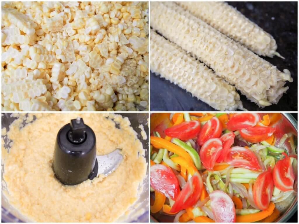 making fresh corn polenta with summer vegetables