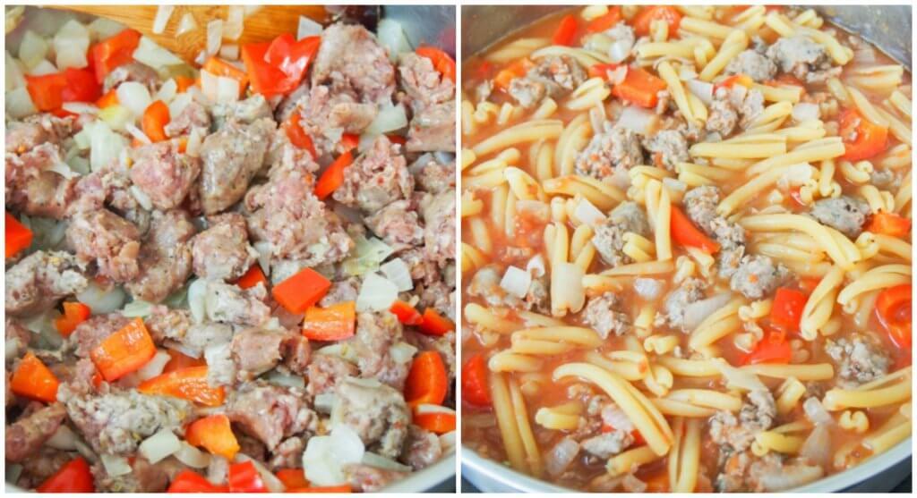 making Spicy sausage pasta skillet