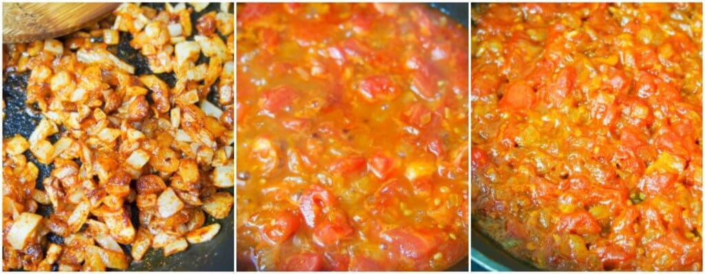 making salsa bravas for healthier patatas bravas