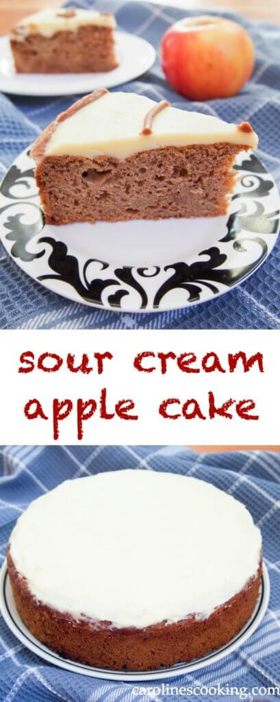 sour cream apple cake - wonderfully moist, with a slightly spiced flavor but a healthier cake than many being low in sugar and fat. Perfect for any occasion