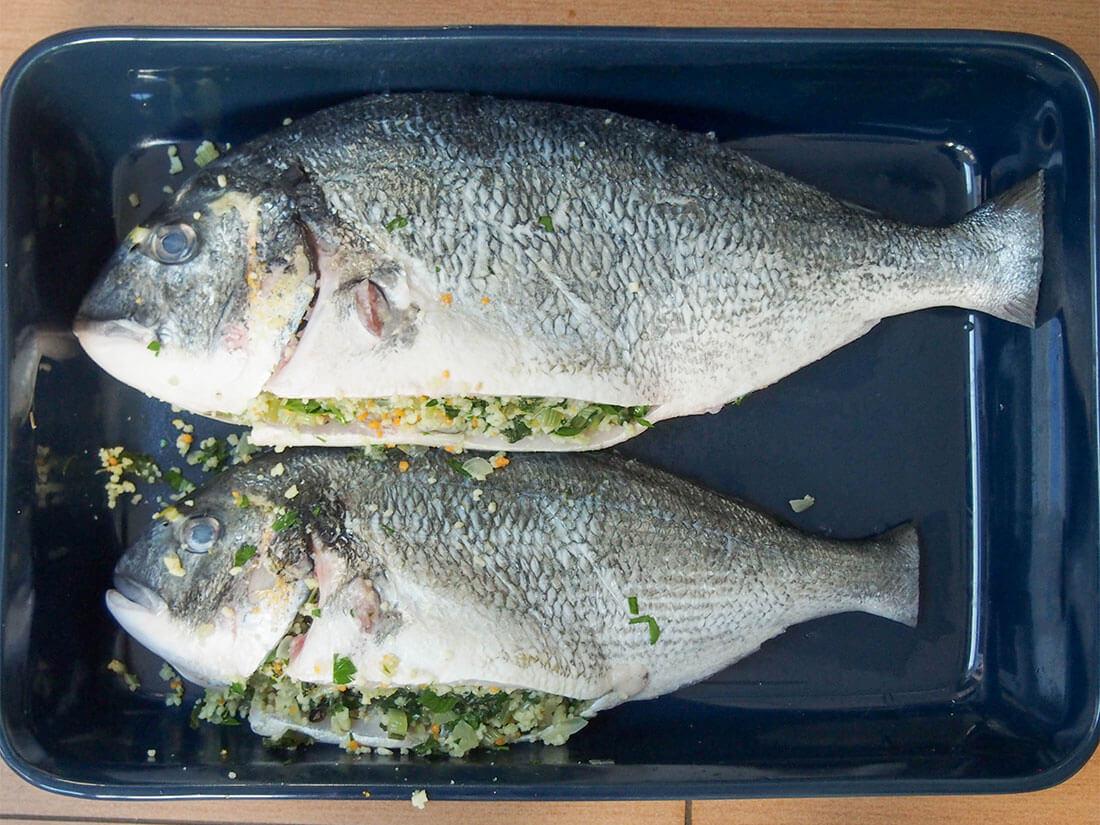 chard couscous stuffed fish ready to bake