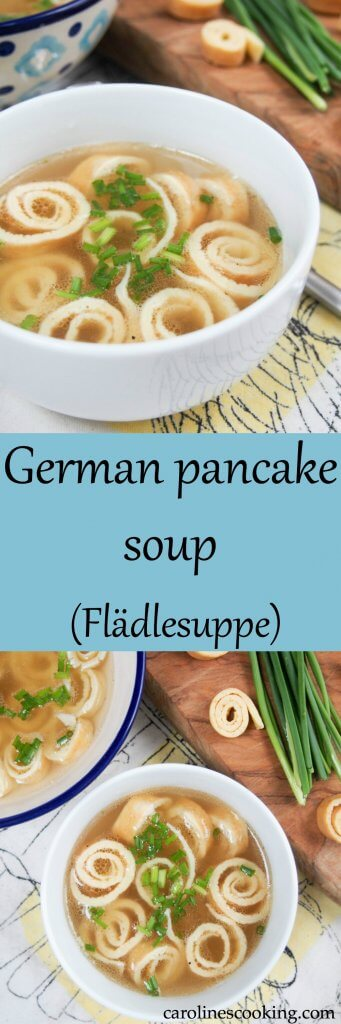 German pancake soup (Flädlesuppe) is a simple combination of broth with pancake 'noodles' that's tasty, comforting and a great cold-buster! #pancakesoup #broth #soup #germanfood #oktoberfest