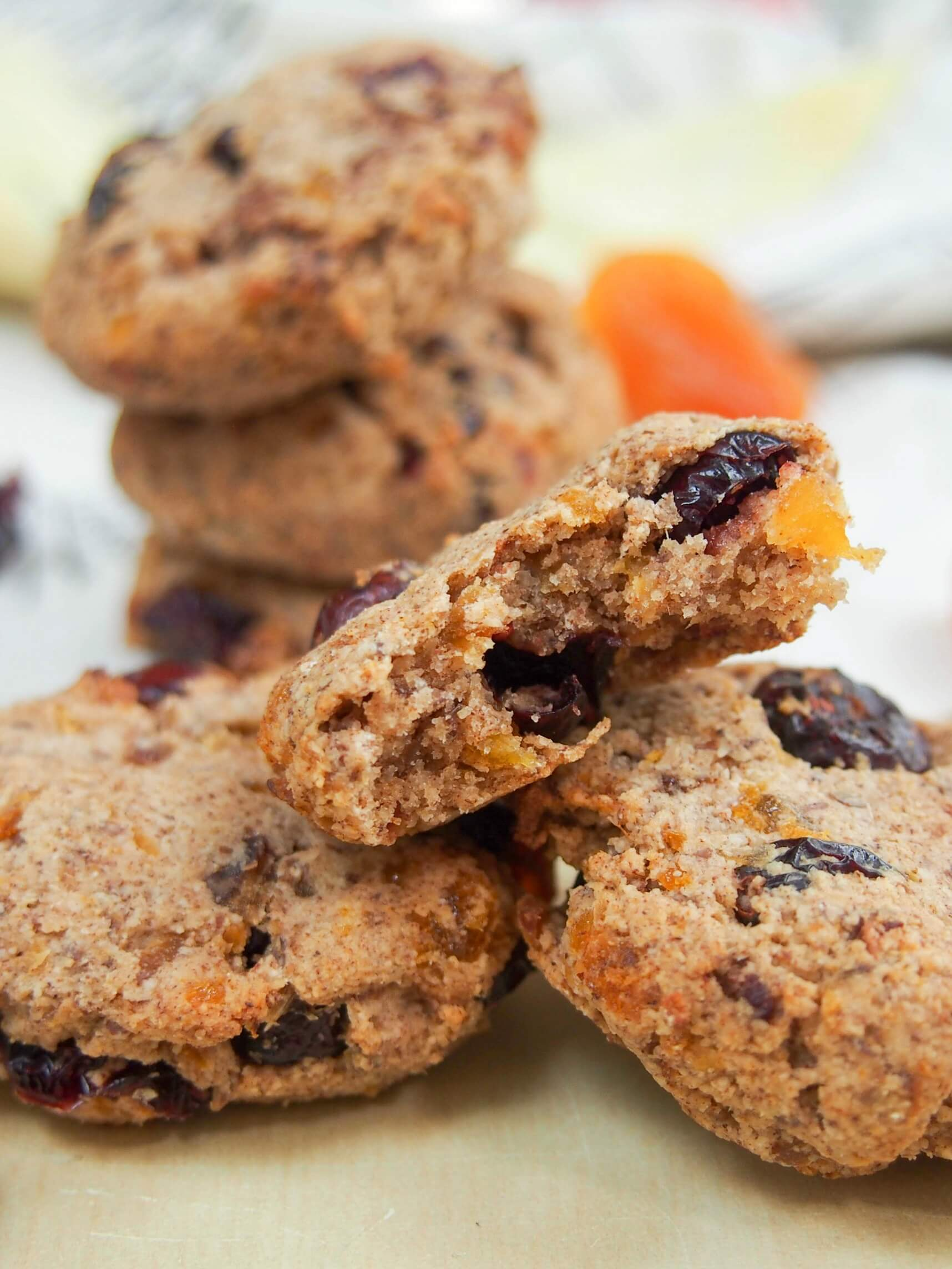 Healthy cranberry apricot cookies