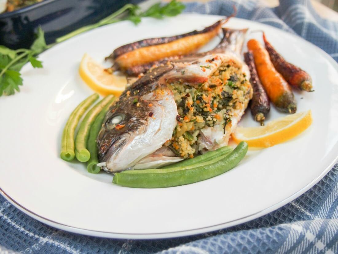 Chard, lemon and couscous stuffed fish (eg sea bream) - Caroline's Cooking