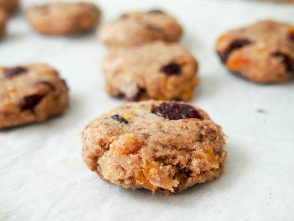 making healthy cranberry apricot cookies