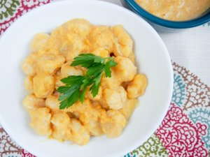 Double pumpkin gnocchi: pumpkin gnocchi served with a gently spiced, smooth pumpkin sauce. Comforting, flavorful, a delicious taste of fall.