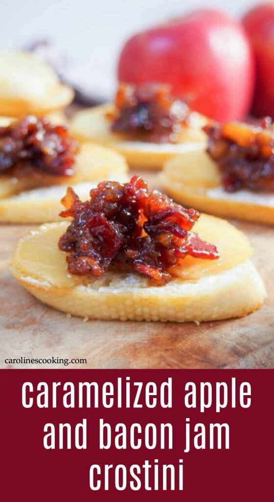 These caramelized apple and bacon jam crostini are a delicious sweet-savory mix, easy to prepare largely in advance and sure to be a hit with guests. A great fall appetizer. #appetizer #apple #crostini #baconjam