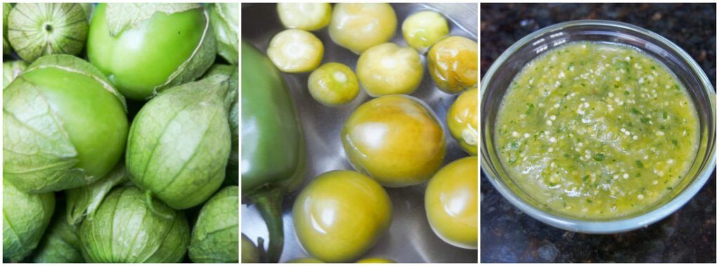 making tomatillo salsa verde