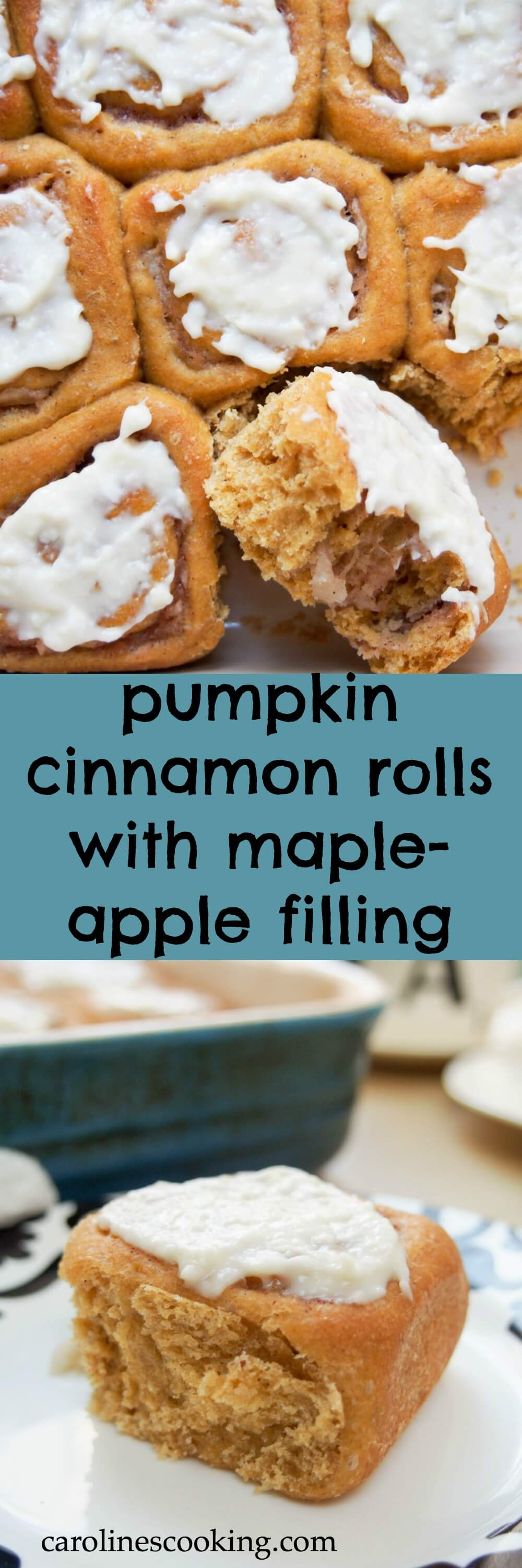 Pumpkin cinnamon rolls with maple-apple filling - a healthier and very fall-inspired version of the classic treat, made with wholewheat flour and no refined sugar, but so delicious!