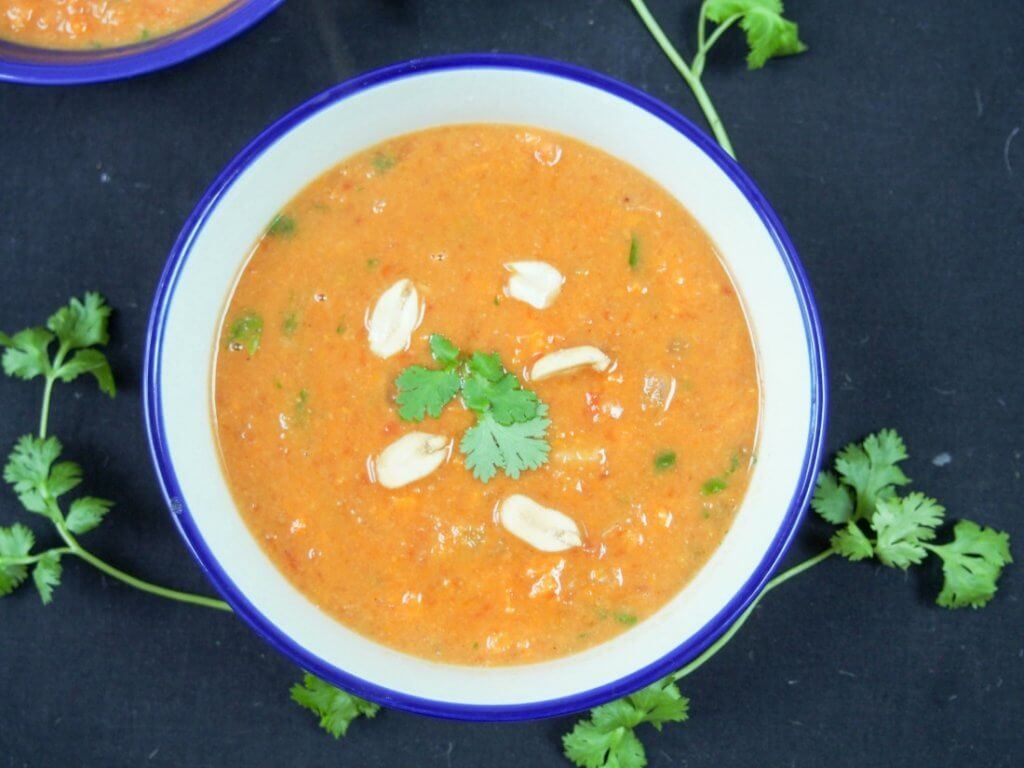 West African peanut soup is a tasty vegan soup made with sweet potato. Easy to make, it's warming, comforting and delicious.