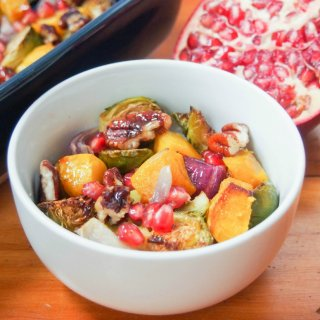 acorn squash and Brussel sprout side dish