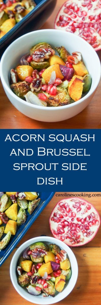 This acorn squash & Brussel sprout side dish is topped with candied pecans, pomegranate and a tasty dressing. Perfect as a holiday side, healthy too. (vegan, gluten-free)