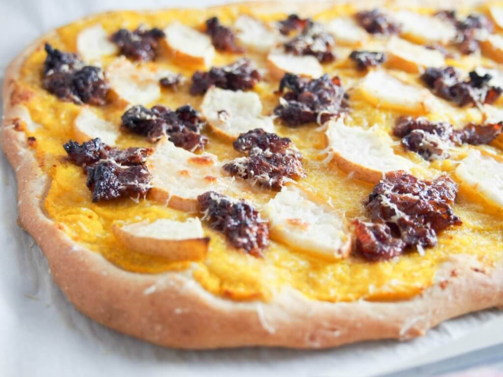 Bacon jam, pear and butternut squash pizza