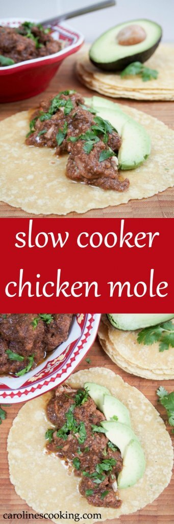 This slow cooker chicken mole is a delicious way to get all the great flavor of the traditional Mexican favorite without the effort. Great with rice/tacos.