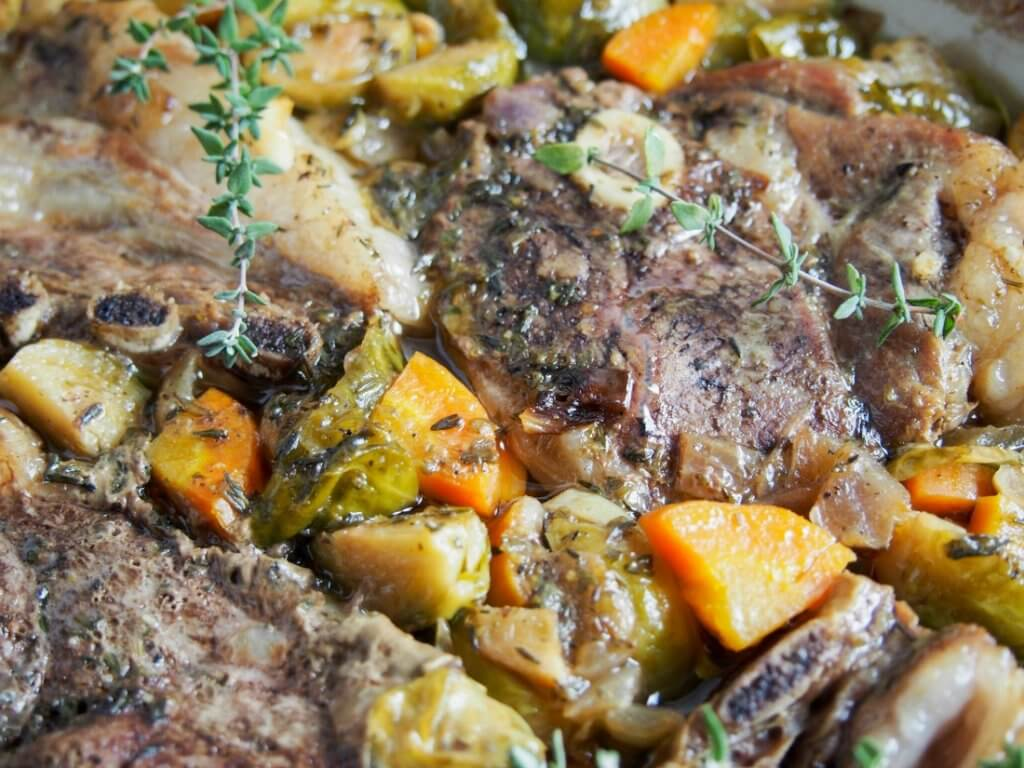 One pot braised lamb shoulder chops and vegetables